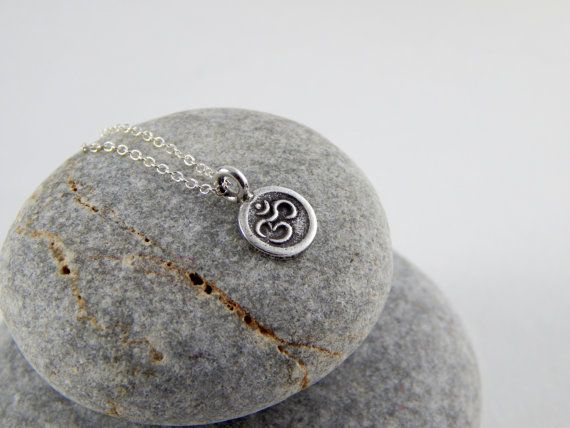 Sterling Silver Om necklace Yoga necklace Sign of Om by Omoroka
