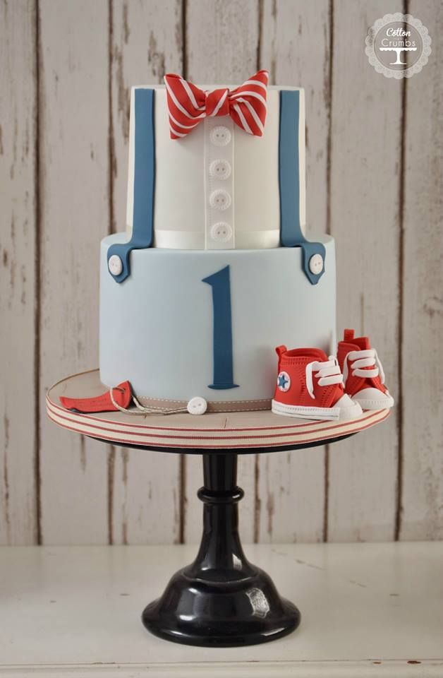 bowtie and suspenders cake for a little boy