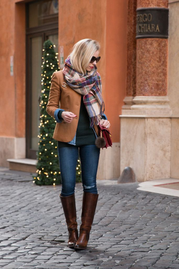 Christmas Colors: Camel blazer & Plaid scarf // Where to find Frye boots on sale Meagan's Moda waysify