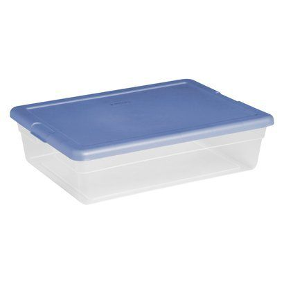 sterilite 28 qt clear storage tote clear with blue lid