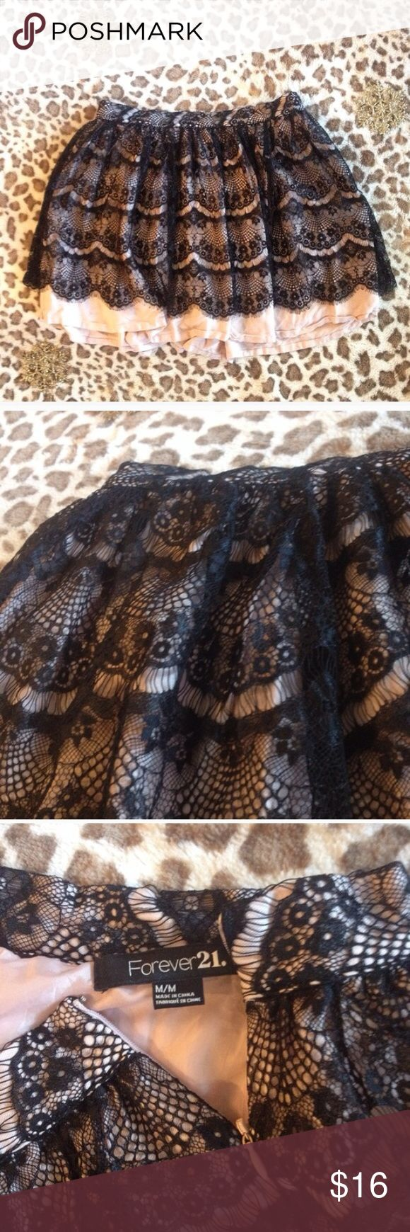 Forever 21 Black Lace Mini Skirt With Pink Slip Forever 21 lined lace skirt EUC Forever 21 Skirts Mini