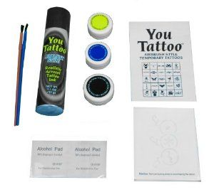 You Tattoo Shimmer Glitter Tattoo Kit with Shimmer Powders by You Tattoo. $12.95. 2 Shimmer Gold and Blue Dusts. Areosol Temporary Tattoo Ink. Tons of Stencil Designs. 2 Shimmer Brushes for Application. Alcohol Prep Pads. Dazzel your day, with this temporary tattoo kit. Easy to follow picture instructions, with tons of stencil designs to choose from. Kit includes Gold and Blue shimmer dust , realistic tattoo ink, and setting powder.