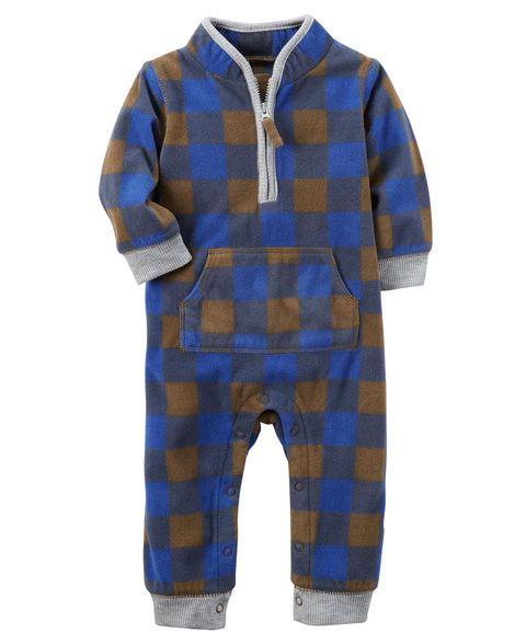Fleece Plaid Jumpsuit