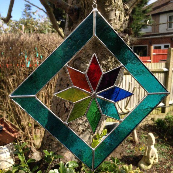 Suncatcher vidrieras arte de cristal estrellas multi - Vidrieras de colores ...