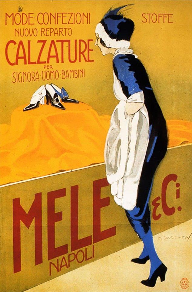 Marcello Dudovich (1878-1962, Italy), 1920, Mode Confezioni, Calzature per Signora Uomo Bambini, Grandi Magazzini Mele, Napoli.