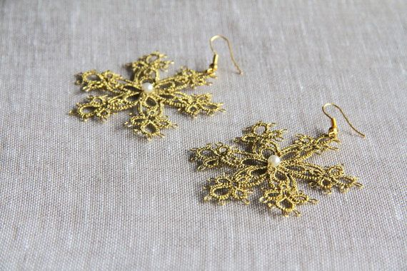 Golden snowflake earrings winter christmas by TheScarletLace