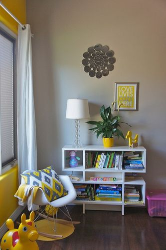 yellow and gray kid's space new room for B
