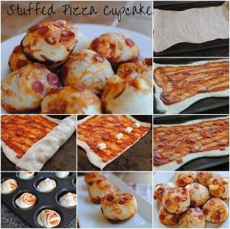 stuffed pizza cupcake