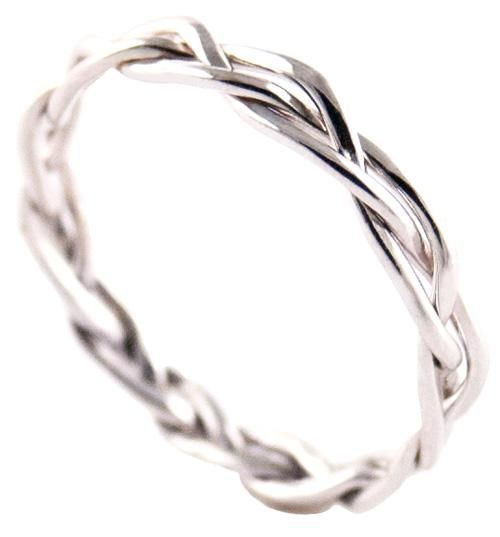 braided wedding band- Simple enough to pair with the engagement ring, detailed enough to be unique.