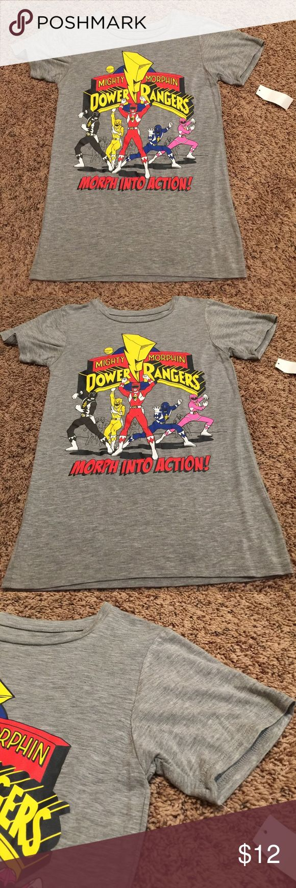 "Power Rangers women's gray crewneck tee small nwt Mighty morphin power rangers!!!! Great crewneck graphic tee. Size small (bust 14.5"" laying flat) (length: 23.5"" laying flat) 95% Rayon 5% Spandex stretchy material and very lightweight.  New with tags Power Ranger Tops Tees - Short Sleeve"