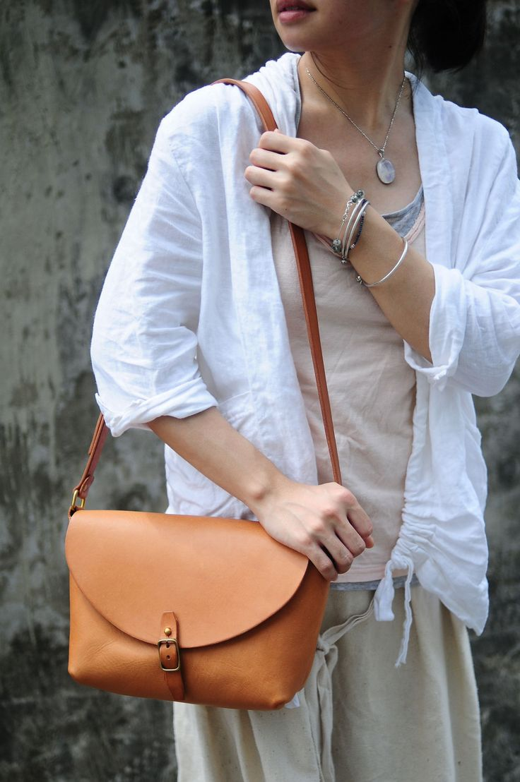 Hand Stitched Camel Color Leather Shoulder Bag/ Carry On Bag. $148.00, via Etsy.