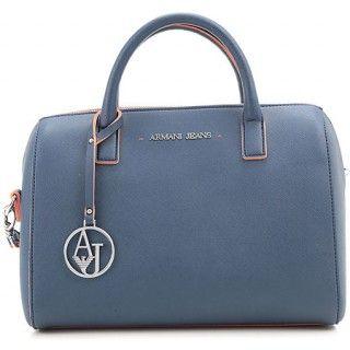ARMANI JEANS Blue Top Handle Bag with Orange Interior