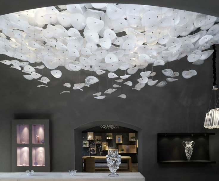 Design blown glass ceiling lamp - MIST by Jitka Kamencová Skuhravá - LASVIT #glass