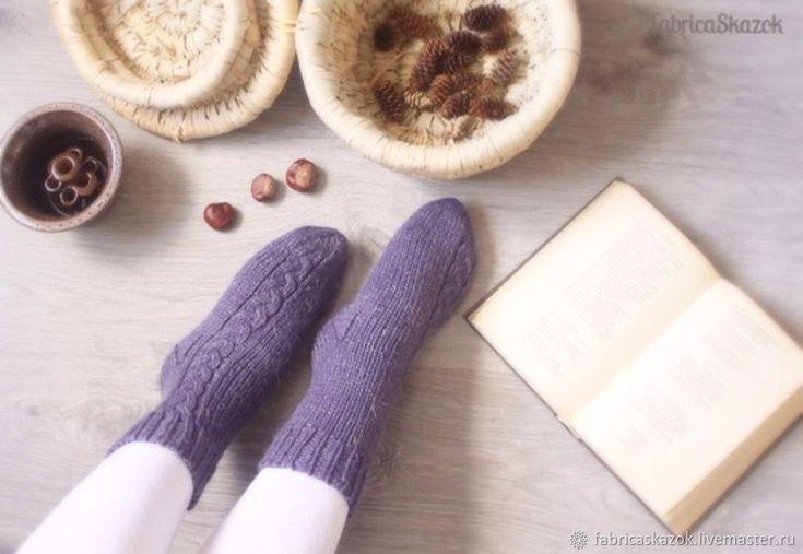 Купить Вязаные вручную шерстяные носки серо-фиолетового цвета в интернет магазине на Ярмарке Мастеров