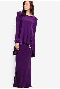 Hi-Low Kedah Midi Kurung from Zuco Fashion in purple_1