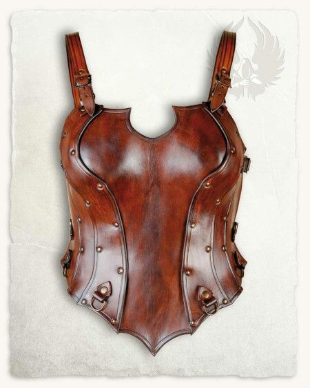 """KENDRA BODICE BROWN  A leather bodice from the italian leather crafter """"Fucina del Drago"""". The bodice is made from two pieces: front and back. Use the two straps on each side to link the parts together and wrapped you are inside this highly crafted piece of armour. The shoulderstraps are packed as well, so you may adjust this armour even closer to the body and have it worn without moving around and interfearing with your movement. The D-rings in the front are used to attach the tassets (sold…"""