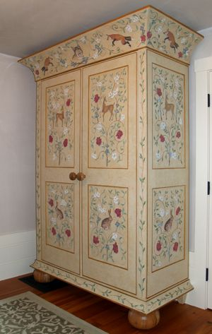 Whimsical Painted Furniture | Hand painted custom-built armoire for a private residence in Lenox, MA ...