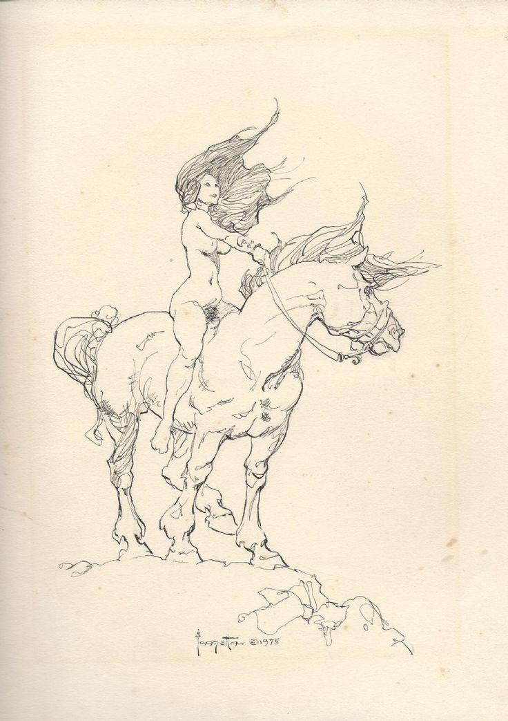 Frazetta - Girl on horse - 1975, in SandeRSandeR's Black_White art Comic Art Gallery Room - 1037120