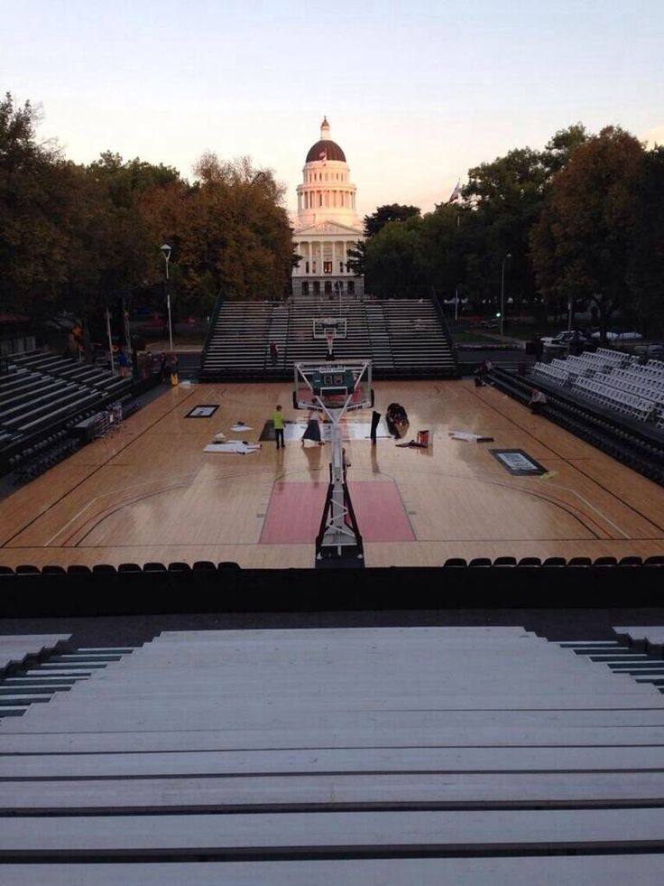 Temporary Basketball Court Built Today On The Center