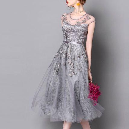 ドレス-ミニ・ミディアム 上品レース 刺繍 結婚式 お呼ばれ 二次会 ふんわり ドレス