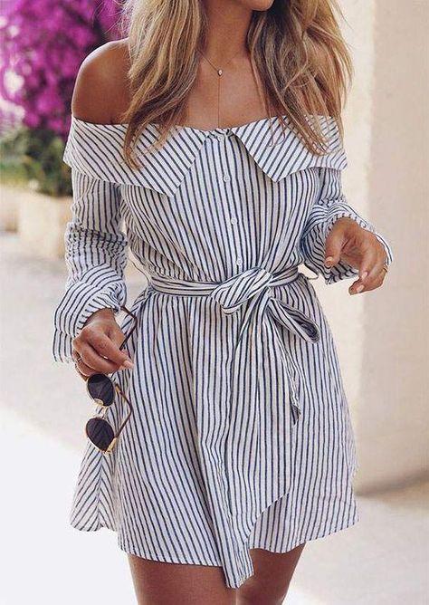 Striped Off Shoulder Mini Dress