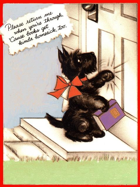 Scottie dog return book label