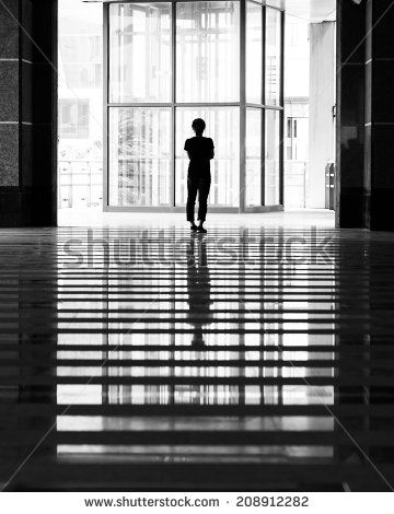 reflection of girl stand alone