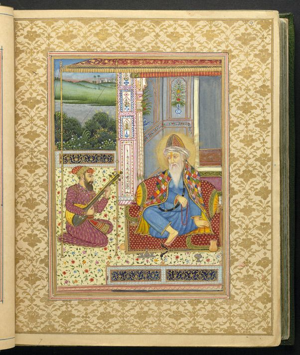 This miniature portrait of Guru Nanak comes from the 'Sarvasiddhantattvacudamani' - 'The Crest-Jewel of the Essence of all Systems of Astronomy' - written by Durgashankar Pathak in Varanasi. The manuscript was commissioned around 1840 by a Sikh nobleman called Lehna Singh Majithia, whose horoscope is included in the manuscript. British Library MS 5259