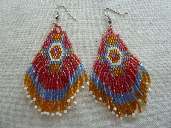 Bohemian Style Seed Beaded Fringe Earrings Beaded Tassel by amezti
