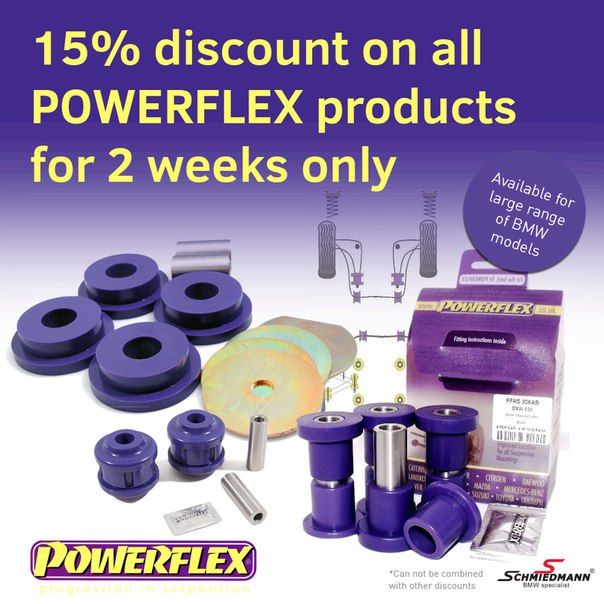 Until the 3rd of April you will receive 15% discount on all Powerflex products. Schmiedmann delivers World-Wide and with only 2-4 days delivery time for products on stock. See the whole range of Powerflex products here. http://goo.gl/2dbgYg #schmiedmann #bmwspecialist #bmw #repair #tuning