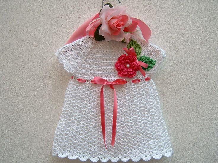 RISERVATO Abitino per bebè a crochet-Vestitino estivo da neonata-Abito di cotone bianco-Moda bebè 0-3 mesi : Moda bebè di i-pizzi-di-anto