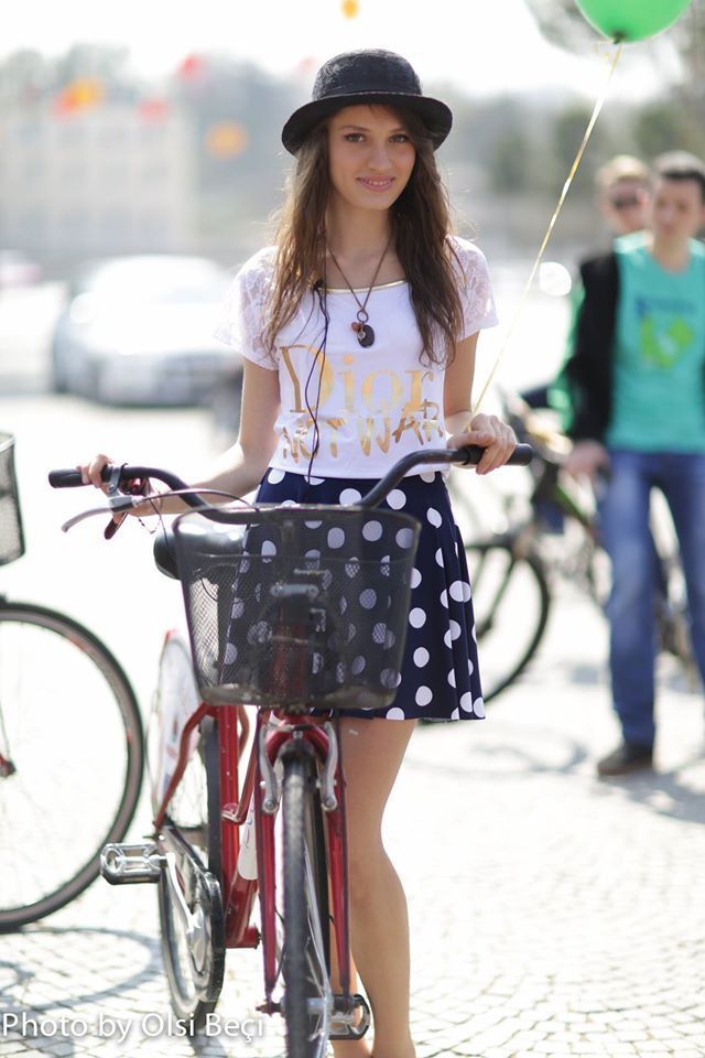 Eco Bicycle - Albania Capturing random Albanian girls in the roads of Tirana. Women in Albania prefer bicycling to gyms.