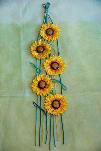 Шесть подсолнухов (подвеска) - настенное декоративное панно