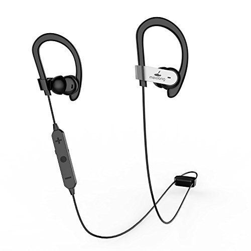 Meidong HE8C Bluetooth Headphones, Active Noise Cancelling Earbuds Wireless Headphones with Microphone & Ear buds (Space Grey)  MEIDONG HE8C BLUETOOTH HEADPHONES--Active noise cancelling earbuds cancel 99% unwanted noise--APTX CSR8645 technology for bass and CD sound--OTG (On The Go) charge through your phone or USB, never lose power--Comfort and secure earhooks naturally fit your ears and never fall out--Food-grade silica rubber earmuffs--Workout &running headphones with incredible ba...