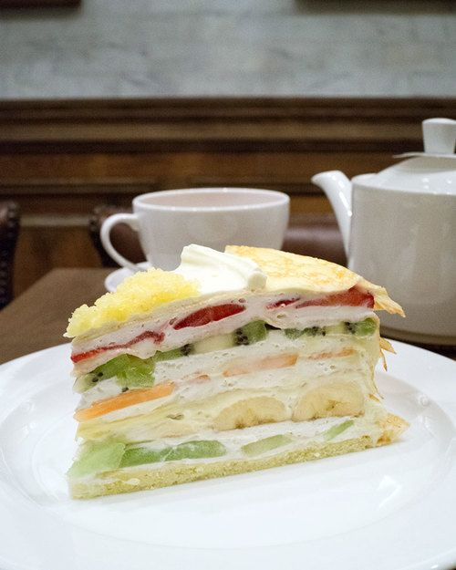 The Mille crepe cake, with fresh fruit and cream in each of its six layers