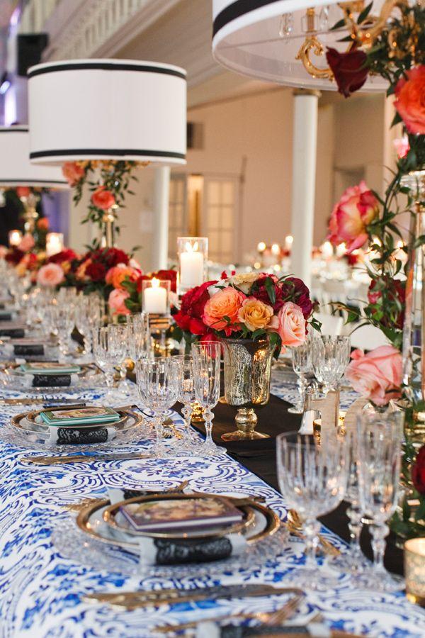 elegant tablescape - photo by Boyfriend Girlfriend http://ruffledblog.com/elegant-toronto-wedding-inspired-by-dolce-and-gabbana
