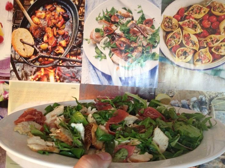 Rocket salad, with vigs, proscuito di Parma and mozzarella di bufalo.