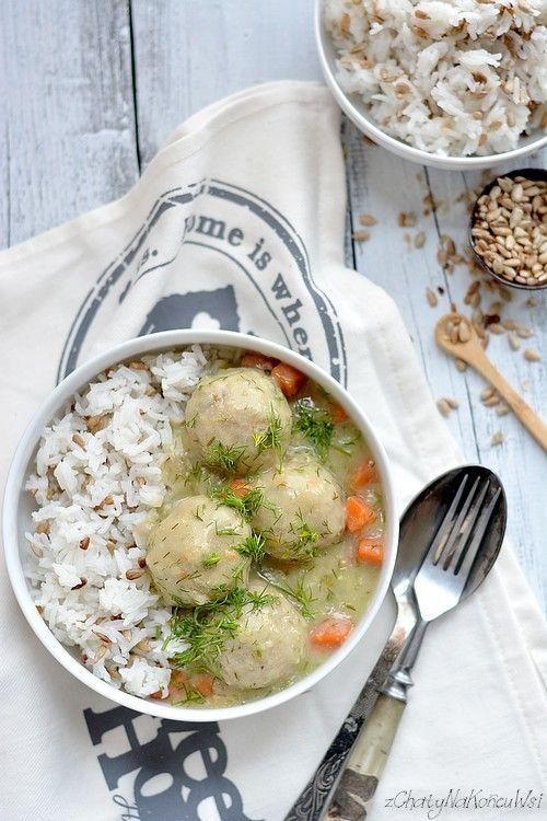 Klopsiki w sosie koperkowym. Kotleciki drobiowe dla dzieci.Kotleciki z ryżem. Fit kotleciki z ryżem. Jak zrobić klopsiki drobiowe.