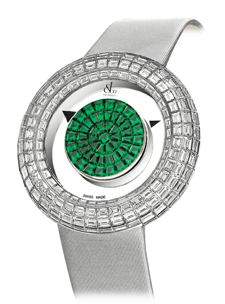 Jacob & Co.'s Brilliant Mystery Baguette Collection Timepiece Invisibly set with Baguette Tsavorites and Diamonds #JacobArabo #JacobandCo. #Brilliant