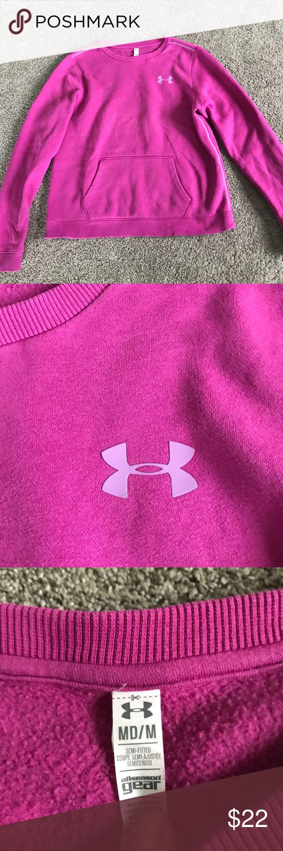 Women's Underwear Armour crew sweatshirt sz Med Women's Under Armour crewneck sweatshirt size medium! Good preowned condition! Smoke free home! A pinkish purple color! Under Armour Tops Sweatshirts & Hoodies