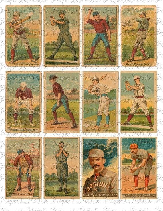 Vintage Baseball Cards Digital Download Collage D on Etsy, $2.95
