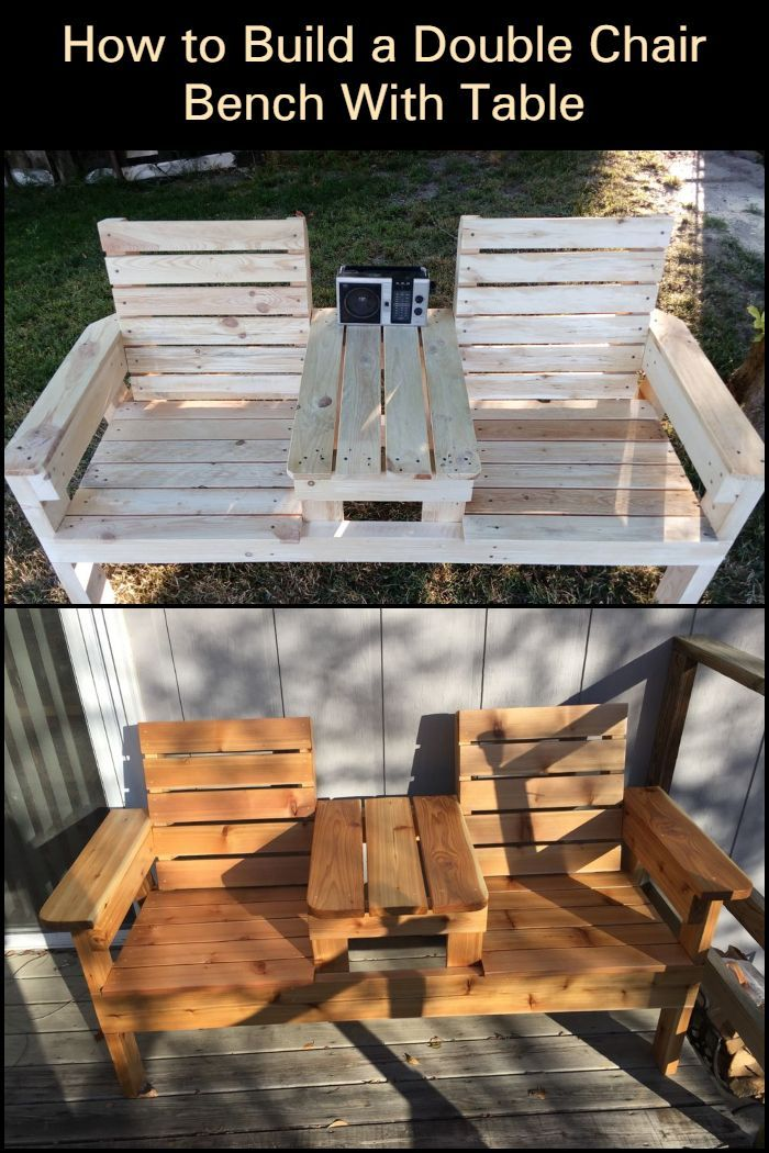 How To Build A Double Chair Bench With Table Free Plans Diy Projects Plans Outdoor Furniture Plans Chair Bench