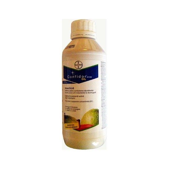 Insecticidul Confidor Oil SC 004 este un insecticid sistemic produs de Bayer pentru combaterea daunatorilor la mar si prun prin tratamente la dezmugurit. Datorita celor doua componente, Confidor Oil are actiune sistemica de lunga durata (imidacloprid) si actiune fizica complementara de asfixiere (ulei)