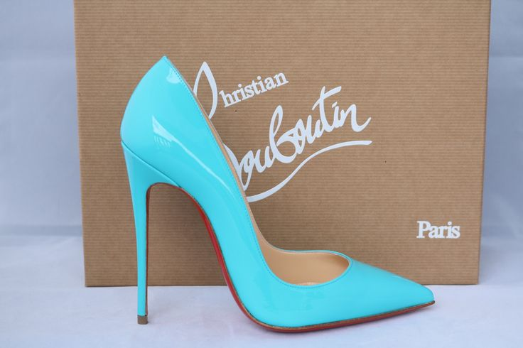 CHRISTIAN LOUBOUTIN SO KATE 120 PIGALLE PACIFIC BLUE PATENT PUMPS SHOES