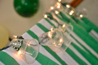 Starbucks party decorations- mini lamp shades from Starbucks plastic cups on a strand of lights