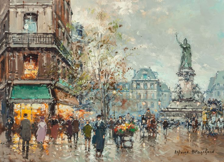 Antoine Blanchard (French, 1910-1988) Place de la République Oil on canvas 13-1/4 x 18 inches (33.7 x 45.7 cm) Signed lower right: Antoine. Blanchard. Titled verso: Place de la République, Paris: