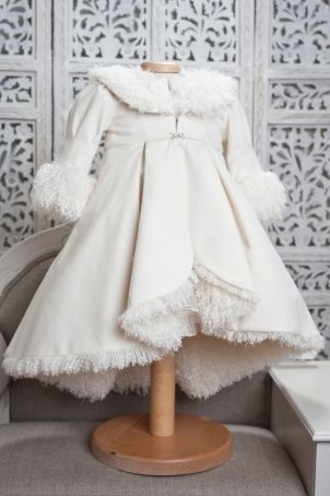 """Elegant baby coat, lined with soft fur, matching the """"Duchesse"""" outfit."""