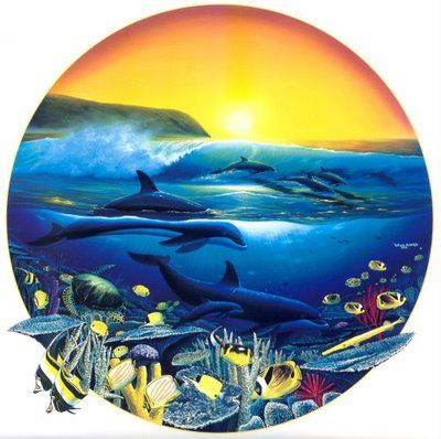 Wyland Dolphins, coral reefs, tropical fish, and waves