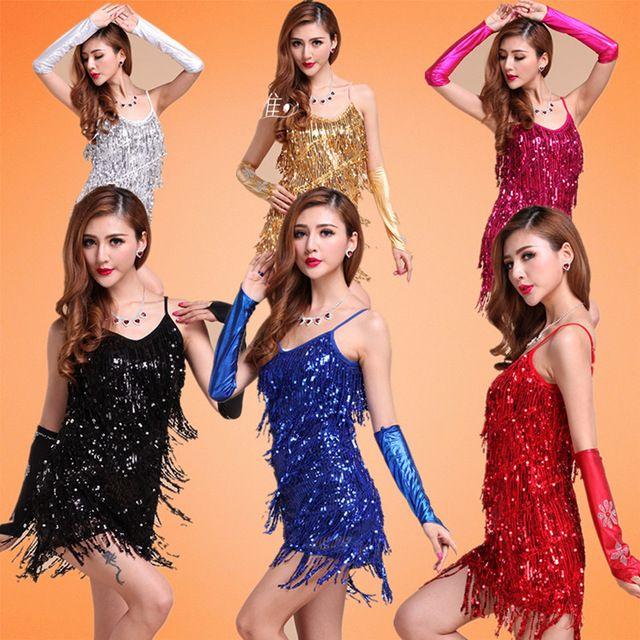 latin dans jurk gouden pailletten jurk prestaties kostuum volwassen vrouwen kwastje franje kleding dancewear tango ballroom dans rok