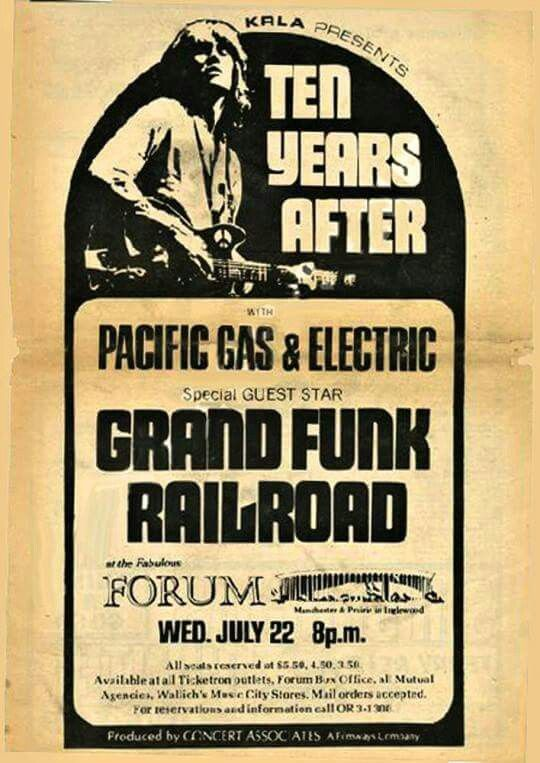 Ten Years After. Grand Funk Railroad.....got to open Spotify!